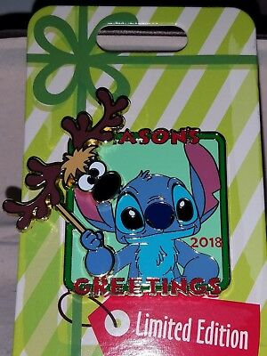 Disney Seasons Greetings 2018 Stitch with Reindeer Mask Christmas LE Pin LE 5000