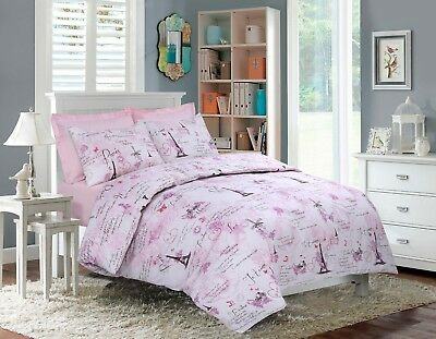 Eiffel Pink Luxurious Paris Theme Duvet Cover Sets Reversible Bedding Sets By MS