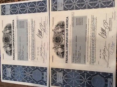 1981-1983 Stock Certificates from Financial Corp. of America