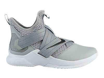 sale retailer cd0e6 fca43 Mens Nike LeBron Soldier XII Basketball Shoes Trainers Wolf Grey Black White