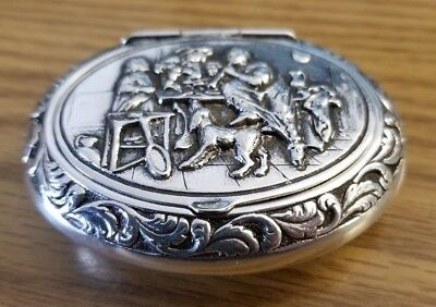 Sterling Silver Snuff Pill Box Dutch Colonial Oval Happy Family Playing Flute
