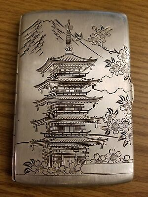 Sterling Silver 950 Cigarette Case Etched Oriental Pagoda Mountain Flowers 142g