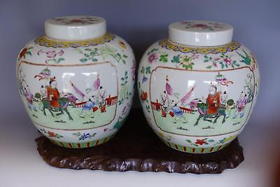 Rare Pair LARGE Chinese Antique Famille Rose Porcelain Jar Vases SUPERB