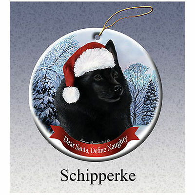 Schipperke Howliday Porcelain China Dog Christmas Ornament