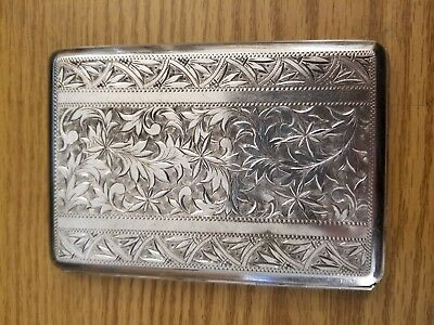 Sterling Silver 950 Cigarette Money Case Box Hand Chased Floral Patterns 145.6g