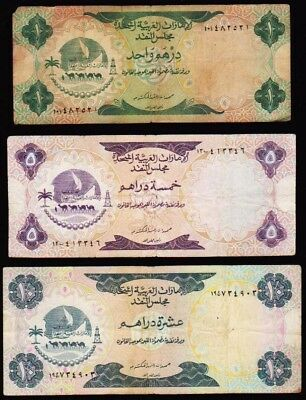LOT OF 3 1973 UAE 1st ISSUE! VERY NICE ONE, FIVE AND TEN DIRHAM NOTES .