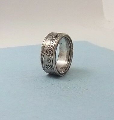 Third Reich WWII 1934 German 5 mark 90% silver coin ring size 11