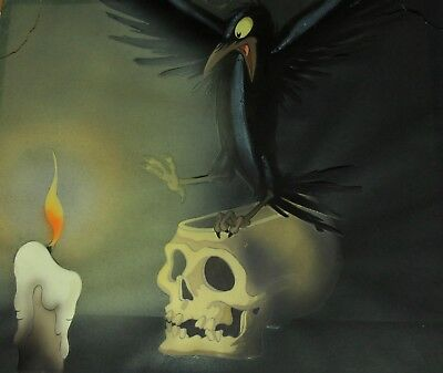Disney 1937 Snow White Dwarfs Animation Cel Raven Skull Candle Courvoisier
