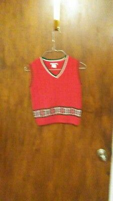 Hartstrings Boys Multi-Colored Red Christmas Sweater Vest Sz 5/6