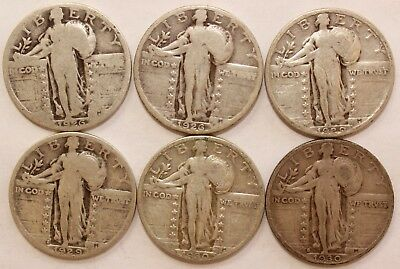 1916 1930 Silver Standing Liberty Quarter 6 Coin Lot With E Die Clash Mint Error