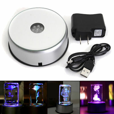"""4"""" Unique 360` Rotating Crystal Display Base Stand 7 LED Light 3 model switch"""