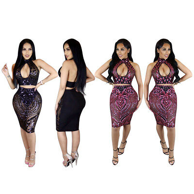 Sexy Women Sequins Mesh Sheer Perspective Halter Top Bodycon Mini Dress Club 2pc