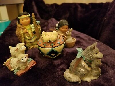 "Retired 1996 Enesco ""5 Pc Set"" Friends Of The Feather Figurine"
