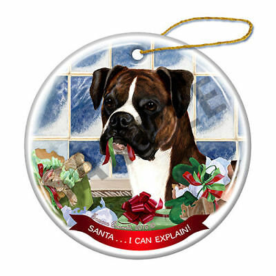 Boxer Brindle Uncropped Howliday Porcelain China Dog Christmas Ornament H2