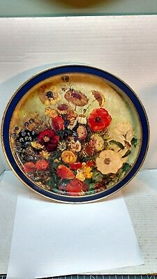 Vtg Collectible Sunshine Biscuits Odilon Redon Flowers in a Green Vase Tin Tray