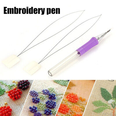 DIY Magic Embroidery Pen Set Threader Punch Needle Kit Knitting Sewing Stitching