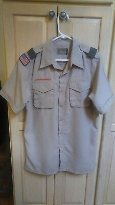 BOY SCOUTS Of America UNIFORM Shirt Scout  Adult Mens : SMALL Sm Poly Vented EC