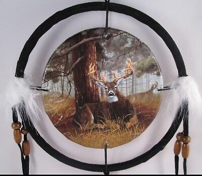 "6.5"" Deer Under Tree Dream Catcher With Beads,Fur & Feathers Wall Or Decoration"