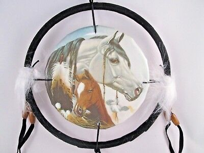 """6.5"""" Horse & Colt Dream Catcher With Beads Fur & Feathers Wall Or Decoration"""
