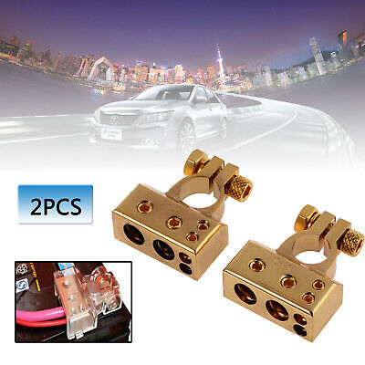 2pcs Car Battery Gold Terminals Positive + Negative Heavy Duty Plated Connectors