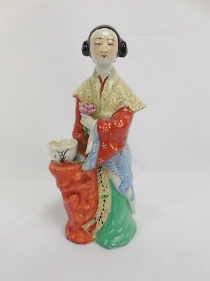 Antique Chinese ceramic Figurine Beautiful Woman with Flower