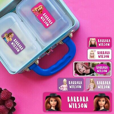 Barbie Series Personalised Name Label for Kids, dishwashable, microwaveable