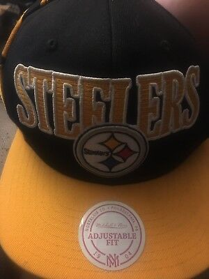 e0fb011c3dd PITTSBURGH STEELERS MITCHELL   Ness Cap Black Adjustable NFL Hat ...