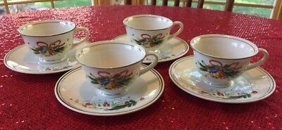 Salem China Co Salem's Christmas Eve Set of four cups and saucers 1965