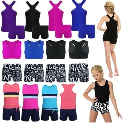 2Pcs Girls Ballet Dance Tankini Outfits Kids Gym Workout Tank Top+Bottoms Set