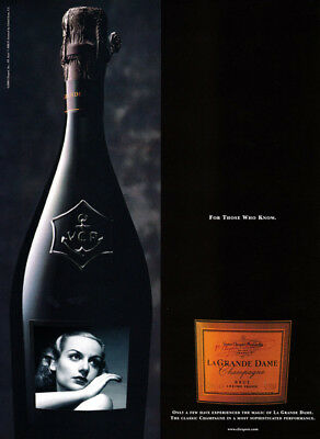 Le Grande Dame Champagne print ad 2000 - vintage photo of woman on bottle