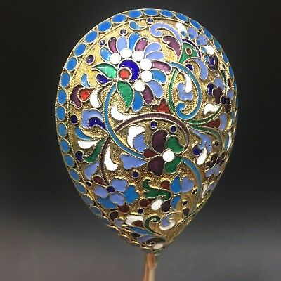 Huge Antique Russian 84 Silver Enamel Spoon