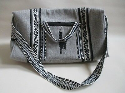 Gray Black PERU MADE Native Pattern Travel Carry On Tote Bag