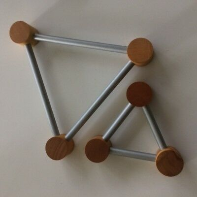Funky Set Of Two Timber And Aluminium Triangular Trivets From Tasmania