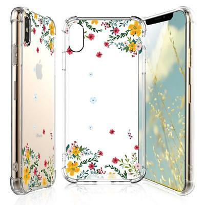 iPhone Xs Max Case with Tempered Glass Screen Protector, Clear Flower Pattern
