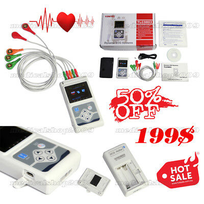 ECG/EKG Holter System 3 Channel 24 Hours Recorder Monitor US+Software