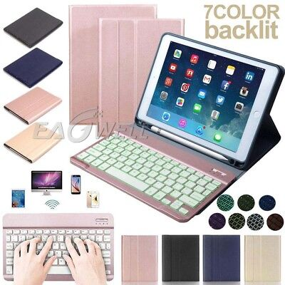 "US For iPad 9.7"" 10.5"" Backlit Bluetooth Keyboard Case Cover WITH Pencil Holder"