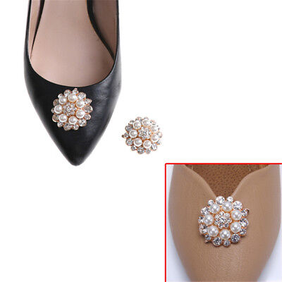1x Shoe Clips Faux Pearl Rhinestones Metal Bridal Prom Shoes Buckle Decoration X