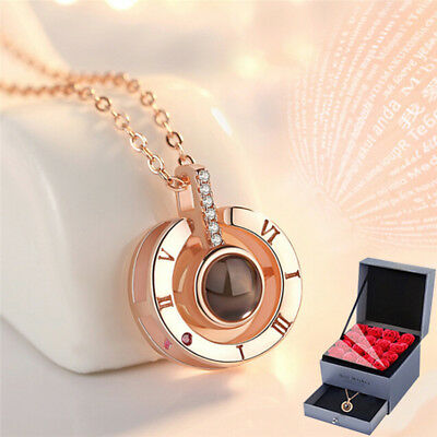 925 Sterling Silver 100 Languages I love you Projection Pendant Memory Necklace`