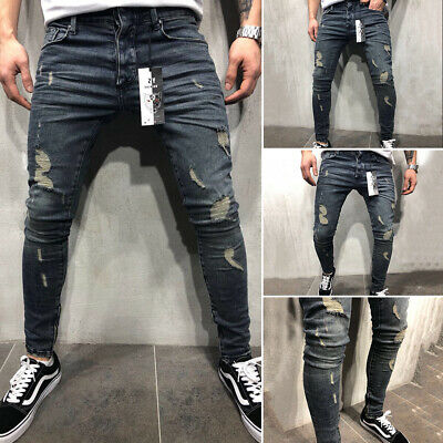 New Men Stretchy Ripped Skinny Jeans Destroyed Patch Slim Denim Pants Trouser