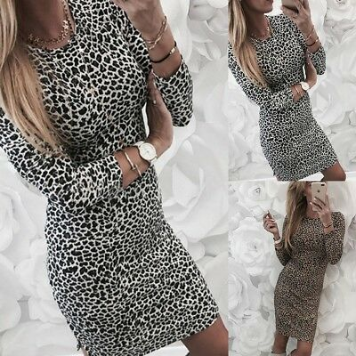Leopard Print Dress Party Ladies Women Long Sleeve O-Neck Maxi Wrap Shirt Skirt
