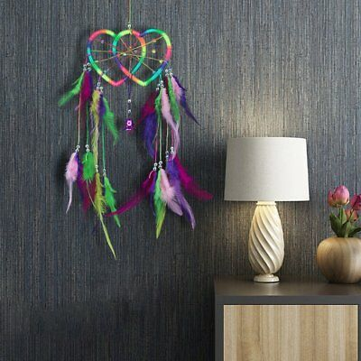 Double Heart Dream Catcher Colorful Feather Jewelry Home Decor Wall Hanging UJ