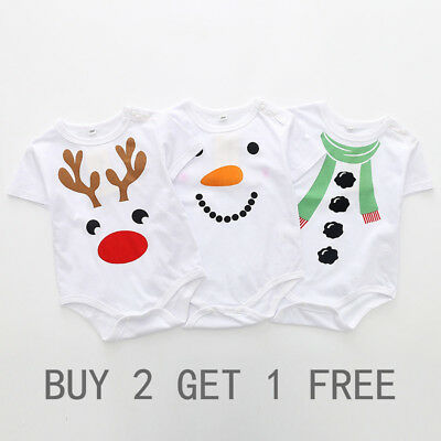Buy 2 get 1 Free Cotton Newborn Baby Boys Girls Christmas Romper Jumpsuit outfit