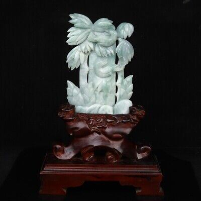 Chinese Exquisite Hand-carved Bamboo and bird carving Jadeite Jade statue
