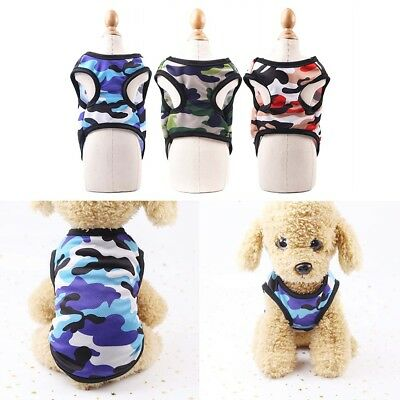 Dog Clothes Puppy Cat T-Shirt Vest Camouflage Costume Clothing For Small Pet