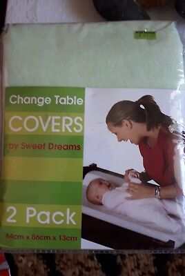 Sweet Dreams Change Table Mattress Cover 2 Pack - green