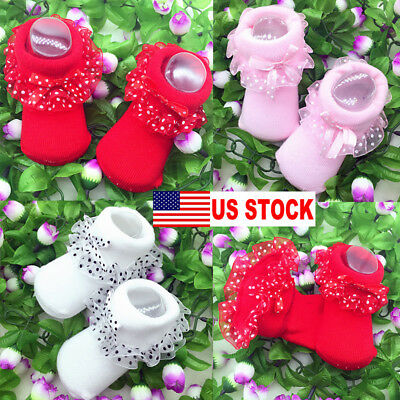 US Cute Baby Girls Tutu Socks Lace Newborn Infant Frilly Sock Cotton Short Socks