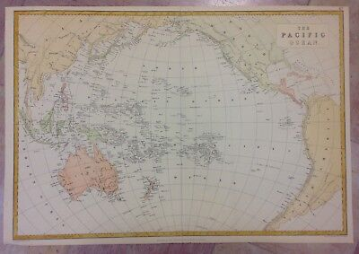 PACIFIC OCEAN XIXe CENTURY by EDW. WELLER LARGE ANTIQUE ENGRAVED MAP IN COLORS