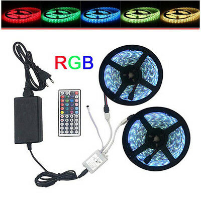 5m 10m 5050 RGB LED Light Strip With 44keys IR Remote Controller+12V 2A/5A Power