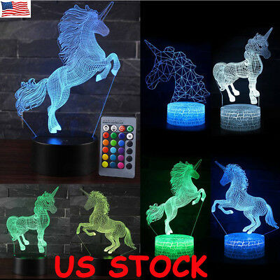 3D LED Night Light Unicorn series Remote Control LED Table Desk Lamp Home Decor
