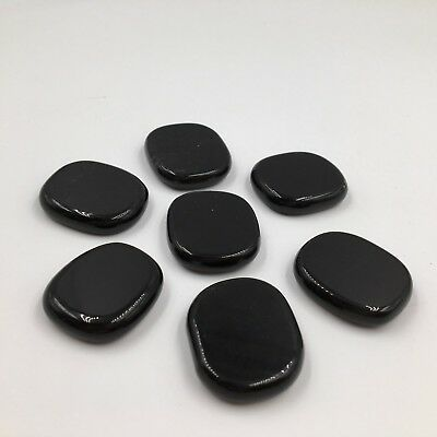 Natural Black Obsidian Healing Crystal Chakra Palm Stone Set  7pcs